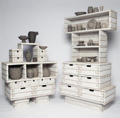24 oranges paper pulp cabinets by debbie wijskamp - Paper furniture ...